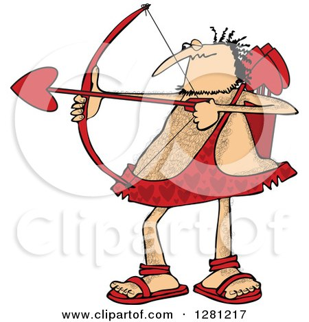 Cartoon Clipart of a Chubby and Hairy Valentines Day Cupid Man Aiming His Arrow - Royalty Free Vector Illustration by djart