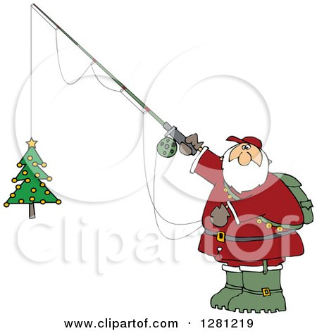 Cartoon Clipart of a Chubby Santa Holding a Christmas Tree on a Fishing Hook - Royalty Free Vector Illustration by djart