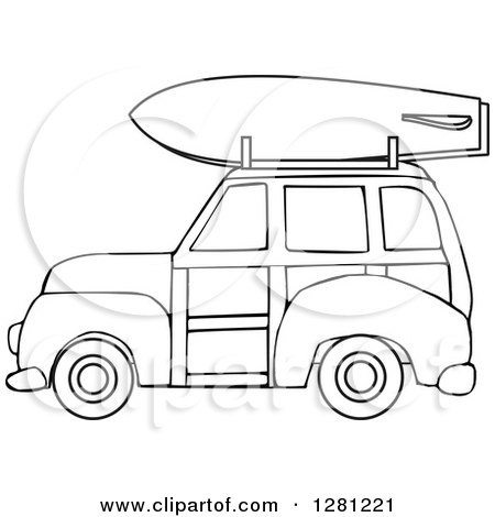 Clipart of a Black and White Woodie Station Wagon with a Surfboard on Top - Royalty Free Vector Illustration by djart