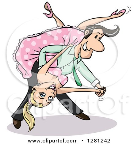 Clipart of a Blond White Woman and Black Haired Man Dipping While Boogie Dancing - Royalty Free Vector Illustration by Holger Bogen