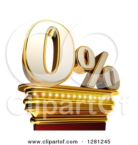 Clipart of a 3d Zero Percent Discount on a Gold Pedestal over White - Royalty Free Illustration by stockillustrations