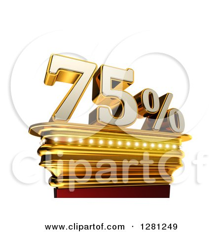 Clipart of a 3d Seventy Five Percent Discount on a Gold Pedestal over White - Royalty Free Illustration by stockillustrations