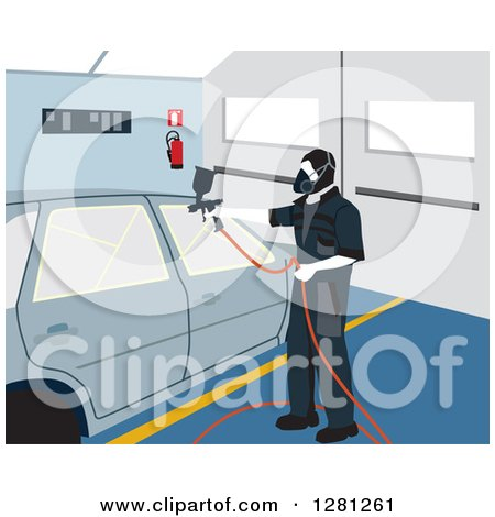 Clipart of a Male Garage Worker Painting a Car - Royalty Free Vector Illustration by David Rey