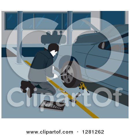 Clipart of a Male Garage Worker Changing a Car Tire - Royalty Free Vector Illustration by David Rey