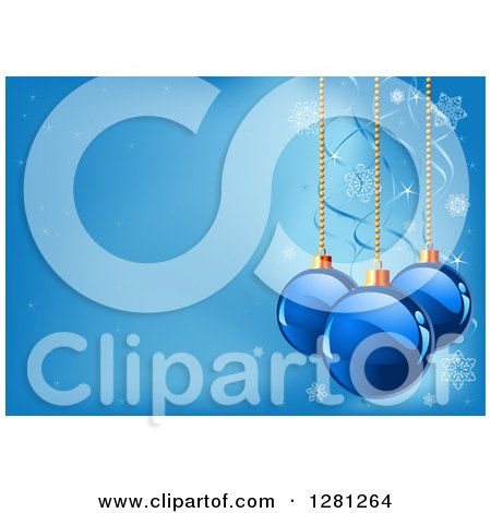 Clipart of a Background of Christmas Baubles Suspended over Blue with Ribbons, Sparkles and Snowflakes - Royalty Free Vector Illustration by Pushkin