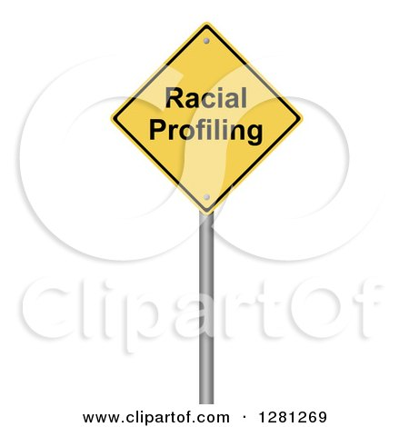 Clipart of a 3d Yellow Racial Profiling Warning Sign over White - Royalty Free Illustration by oboy