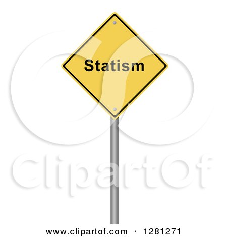 Clipart of a 3d Yellow Statism Warning Sign over White - Royalty Free Illustration by oboy