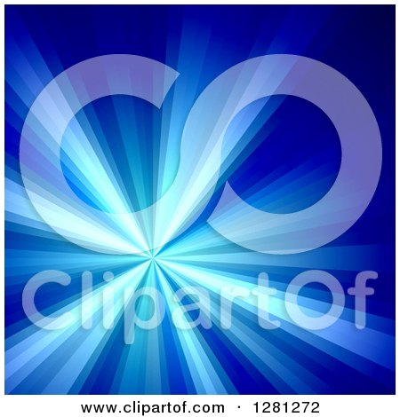 Clipart of a Bright Blue Solar Burst Background - Royalty Free Illustration by Arena Creative