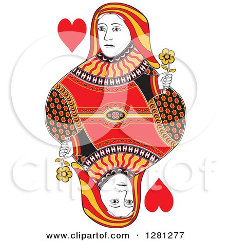 Clipart of a Borderless Red Black and Yellow Queen of Hearts Playing Card - Royalty Free Vector Illustration by Frisko