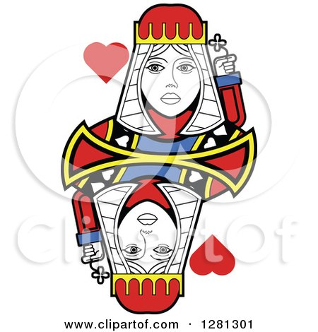 Clipart of a Borderless Queen of Hearts Playing Card - Royalty Free Vector Illustration by Frisko