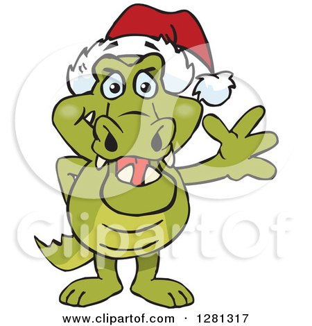 Clipart of a Friendly Waving Crocodile Wearing a Christmas Santa Hat - Royalty Free Vector Illustration by Dennis Holmes Designs