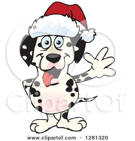 Clipart of a Friendly Waving Dalmatian Dog Wearing a Christmas Santa Hat - Royalty Free Vector Illustration by Dennis Holmes Designs