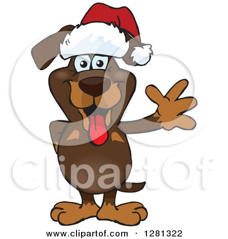 Clipart of a Friendly Waving Dachshund Dog Wearing a Christmas Santa Hat - Royalty Free Vector Illustration by Dennis Holmes Designs
