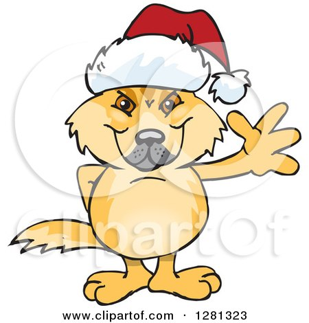 Clipart of a Friendly Waving Dingo Wearing a Christmas Santa Hat - Royalty Free Vector Illustration by Dennis Holmes Designs