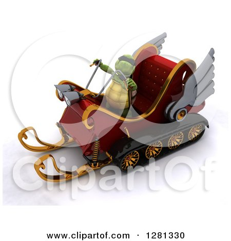 Clipart of a 3d Tortoise Flying Santas Sleigh - Royalty Free Illustration by KJ Pargeter