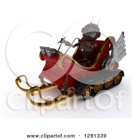 Clipart of a 3d Red Android Robot Flying Santas Sleigh - Royalty Free Illustration by KJ Pargeter