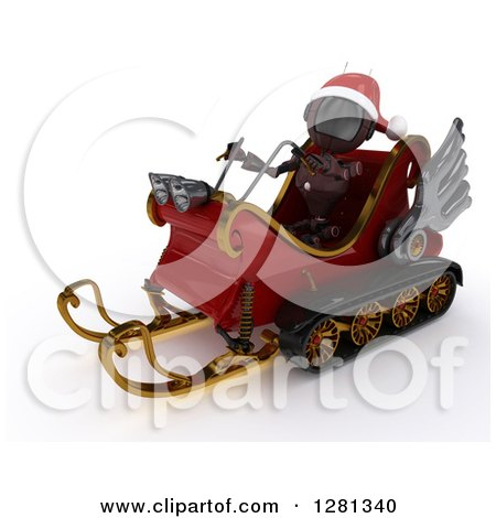 Clipart of a 3d Red Android Robot Wearing a Hat and Flying Santas Sleigh - Royalty Free Illustration by KJ Pargeter