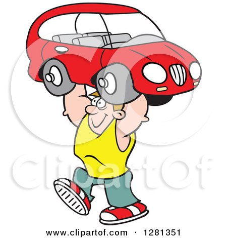 Clipart of a Cartoon Caucasian Happy Strong Man Lifting a Car over His Head - Royalty Free Vector Illustration by Johnny Sajem