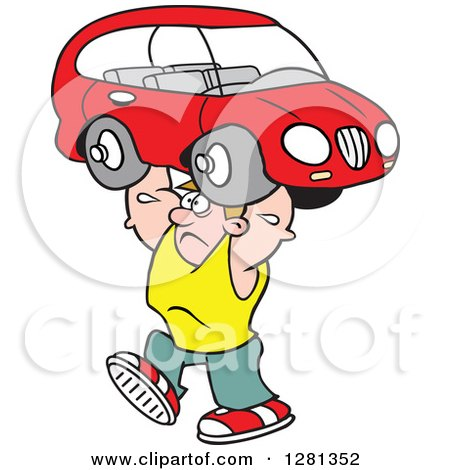 Clipart of a Cartoon Caucasian Struggling Strong Man Lifting a Car over His Head - Royalty Free Vector Illustration by Johnny Sajem