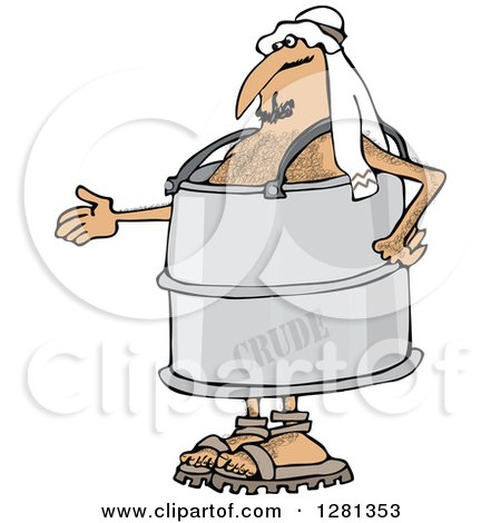 Clipart of an Arab Man in a Crude Oil Barrel Suit, Holding out His Hand - Royalty Free Vector Illustration by djart
