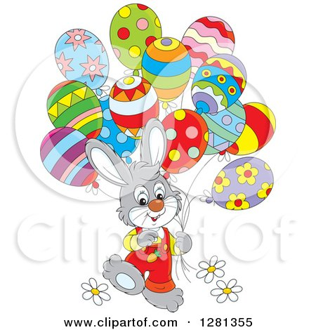 Clipart of a Happy Gray Easter Bunny Rabbit Boy Walking with Party Balloons - Royalty Free Vector Illustration by Alex Bannykh