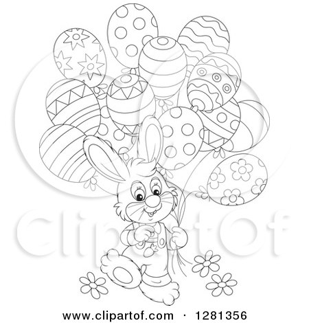 Clipart of a Happy Black and White Bunny Rabbit Boy Walking with Easter Party Balloons - Royalty Free Vector Illustration by Alex Bannykh