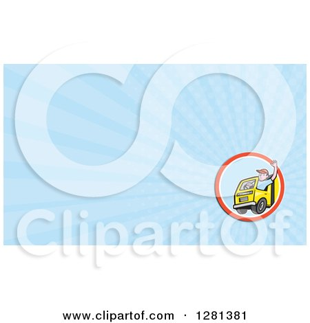 Clipart of a Cartoon Waving Male Delivery Truck Driver and Blue Rays Background or Business Card Design - Royalty Free Illustration by patrimonio