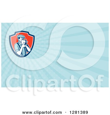 Clipart of a Retro Filming Camera Man in Suspenders and Light Blue Rays Background or Business Card Design - Royalty Free Illustration by patrimonio