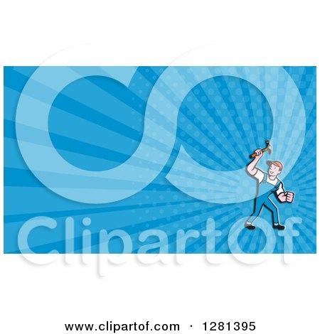 Clipart of a Cartoon Male Carpenter Holding up a Hammer and Blue Rays Background or Business Card Design - Royalty Free Illustration by patrimonio