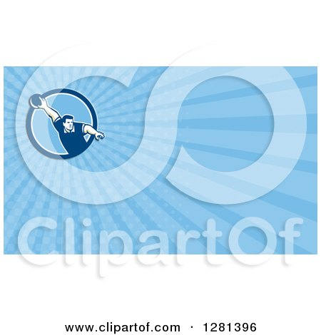 Clipart of a Retro Man Bowling and Blue Rays Background or Business Card Design - Royalty Free Illustration by patrimonio