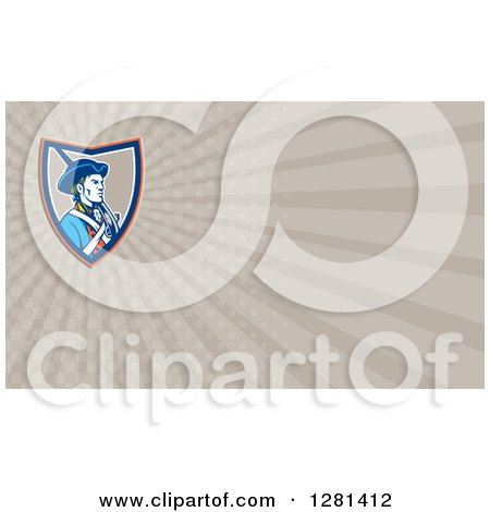 Clipart of a Retro American Patriot Soldier with a Musket and Taupe Rays Background or Business Card Design - Royalty Free Illustration by patrimonio
