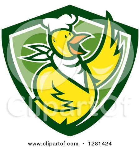 Cartoon Yellow Chef Chicken Waving over a Green and White Shield Posters, Art Prints