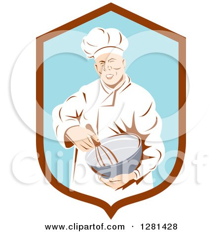 Clipart of a Retro Male Chef Holding a Whisk and Mixing Bowl in a Brown and Blue Shield - Royalty Free Vector Illustration by patrimonio