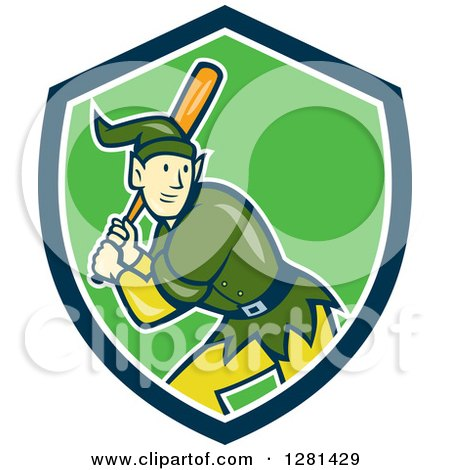 Clipart of a Cartoon Christmas Elf with a Baseball Bat in a Blue White and Green Shield - Royalty Free Vector Illustration by patrimonio