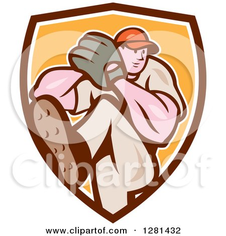 Clipart Of A Cartoon Male Baseball Player Pitching In A Brown White And Yellow Shield Royalty Free Vector Illustration