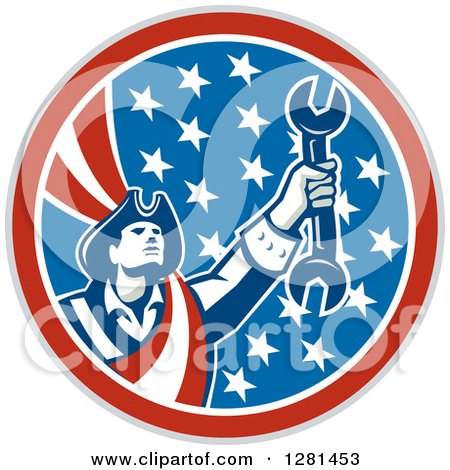 Clipart of a Retro American Revolutionary Patriot Soldier Mechanic Holding a Spanner Wrench in a Patriotic Circle - Royalty Free Vector Illustration by patrimonio