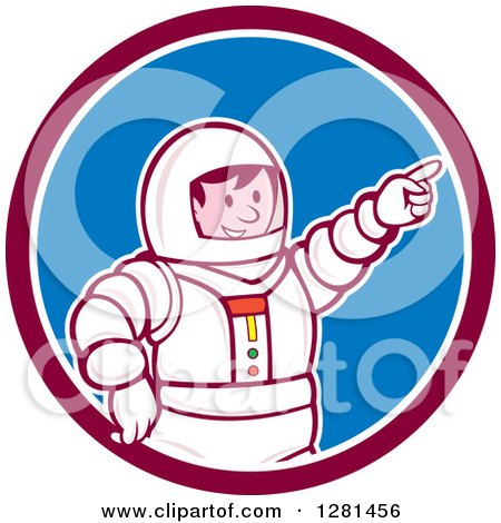 Clipart of a Retro Cartoon Male Astronaut Pointing in a Maroon White and Blue Circle - Royalty Free Vector Illustration by patrimonio