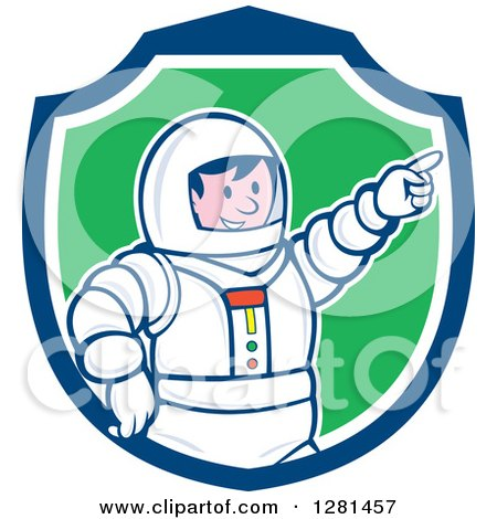 Clipart of a Cartoon Male Astronaut Pointing in a Blue White and Green Shield - Royalty Free Vector Illustration by patrimonio