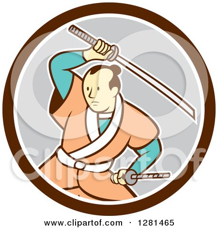 Clipart of a Cartoon Samurai Warrior Fighting with a Sword in a Brown White and Gray Circle - Royalty Free Vector Illustration by patrimonio