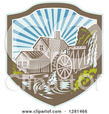 Clipart of a Retro Woodcut Watermill House at Sunset in a Blue Brown and White Shield - Royalty Free Vector Illustration by patrimonio