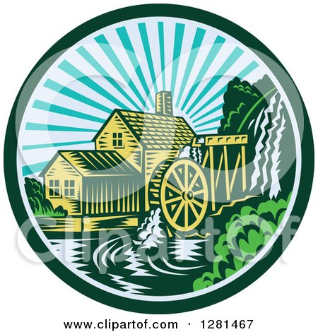 Clipart of a Retro Woodcut Watermill House at Sunset in a Green and Blue Circle - Royalty Free Vector Illustration by patrimonio
