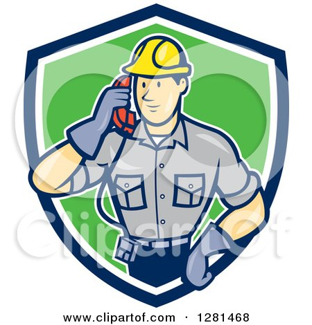 Clipart of a Cartoon Telephone Repair Man Listening to a Receiver in a Blue White and Green Shield - Royalty Free Vector Illustration by patrimonio