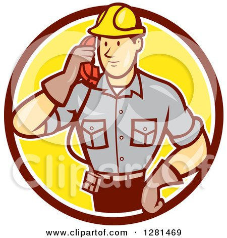 Clipart of a Retro Cartoon Telephone Repair Man Listening to a Receiver in a Brown White and Yellow Circle - Royalty Free Vector Illustration by patrimonio