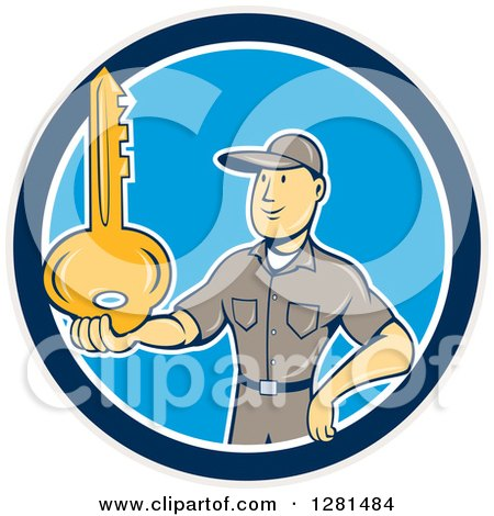 Clipart of a Cartoon Caucasian Male Locksmith Holding out a Giant Gold Key in a Blue Taupe and White Circle - Royalty Free Vector Illustration by patrimonio