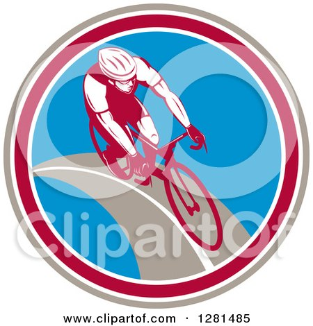 Clipart of a Retro Male Cyclist in a Taupe Maroon White and Blue Circle - Royalty Free Vector Illustration by patrimonio