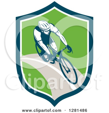 Clipart of a Retro Male Cyclist in a Blue White and Green Shield - Royalty Free Vector Illustration by patrimonio