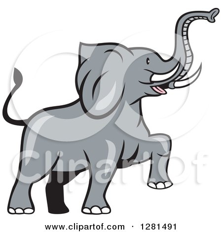 Clipart of a Cartoon Marching Elephant - Royalty Free Vector Illustration by patrimonio