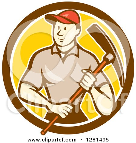 Clipart of a Retro Cartoon Male Construction Worker Holding a Pickaxe in a Brown White and Yellow Circle - Royalty Free Vector Illustration by patrimonio