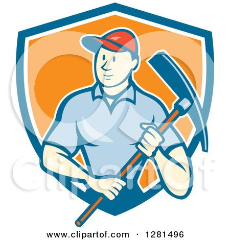 Clipart of a Retro Cartoon Male Construction Worker Holding a Pickaxe in a Blue White and Orange Shield - Royalty Free Vector Illustration by patrimonio