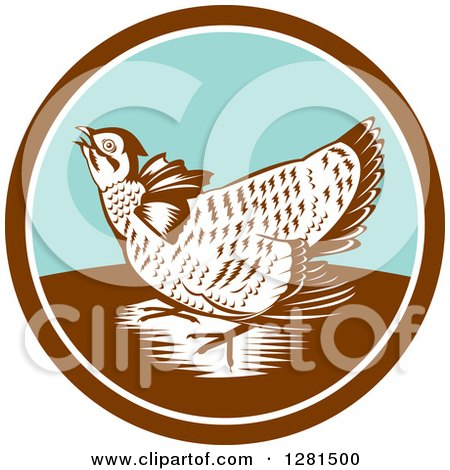 Clipart of a Retro Woodcut Greater Prairie Chicken in a Brown White and Turquoise Circle - Royalty Free Vector Illustration by patrimonio